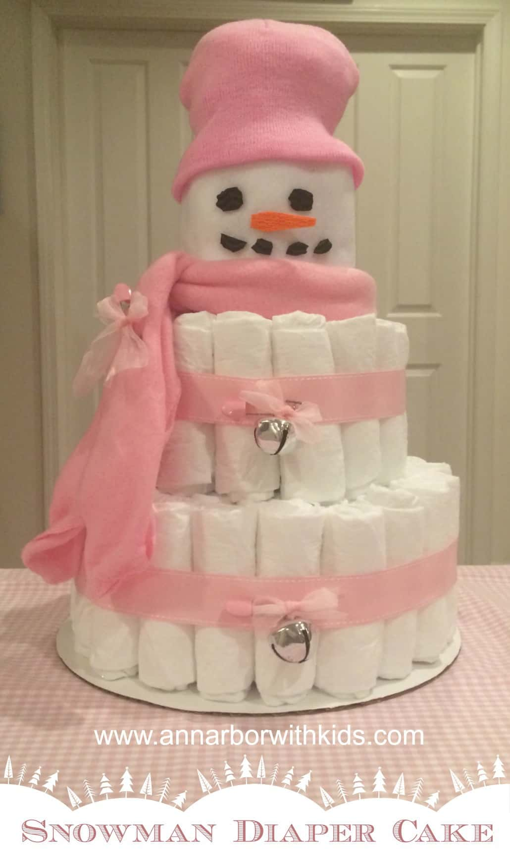 How To Make A Snowman Diaper Cake