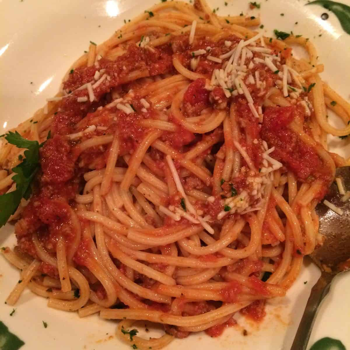 Bucatini with Spicy Three Meat Sauce at Olive Garden
