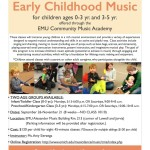 Early Childhood Music Classes for Fall 2015 at EMU Community Music Academy