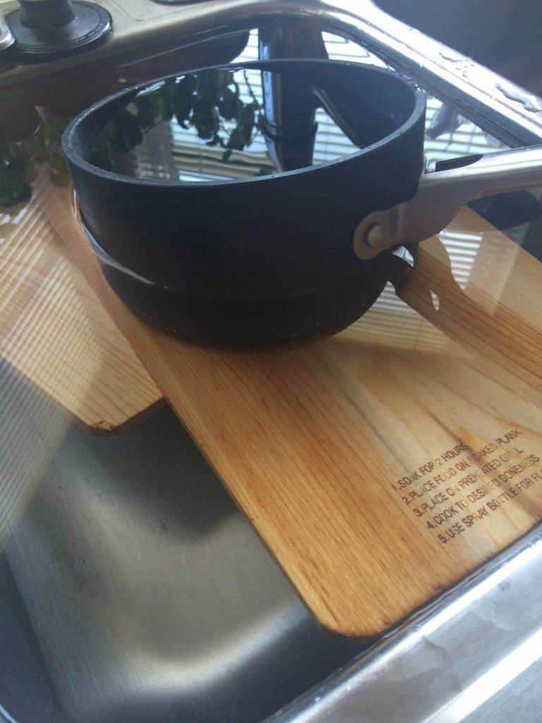 Maple-Soyaki Salmon - Soaking Cedar Planks