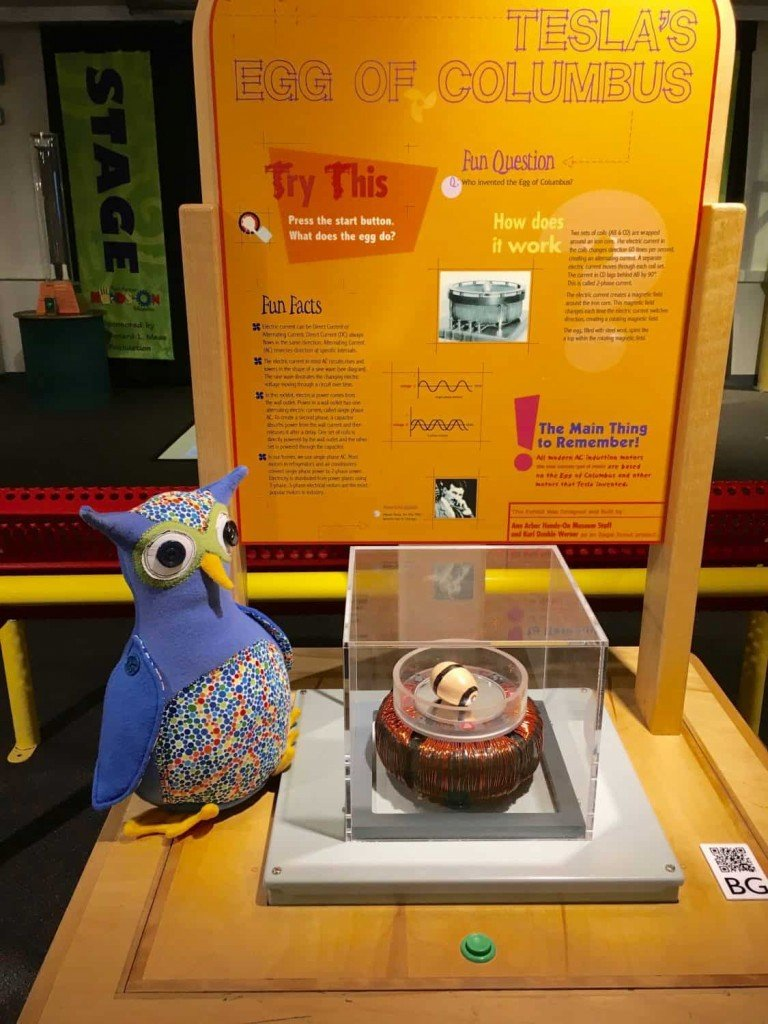 Arbor Annie Visits Ann Arbor Hands-On Museum - Tesla's Egg of Columbus