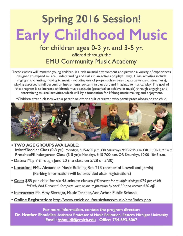 EMU Community Music Academy Spring 2016