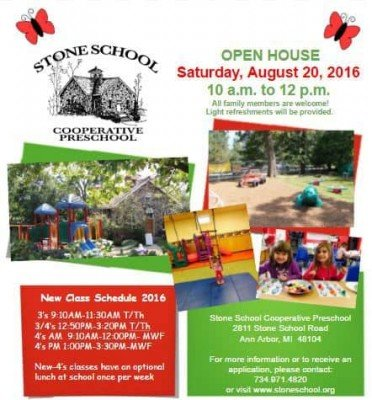 Stone School Cooperative Preschool August 2016 Open House