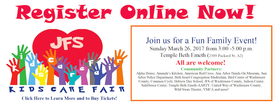 JFS Kids Care Fair - Sunday, March 26 from 3-5p at Temple Beth Emeth