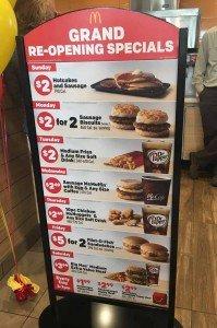Lohr Rd McDonalds Grand Reopening Deals