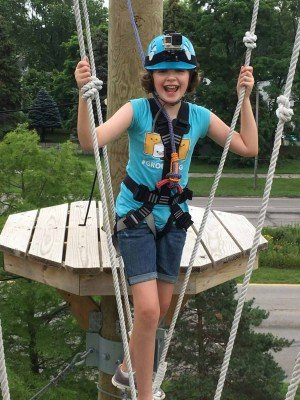 Toledo Zoo Aerial Adventure Course - Completing the First Challenge Course