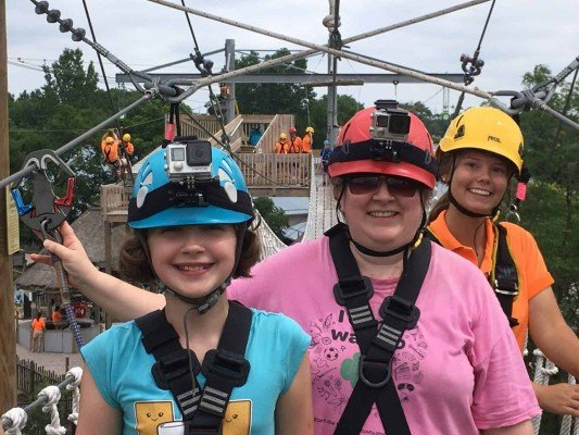 Toledo Zoo Aerial Adventure Course - On the Sky Bridge with our guide Lexi