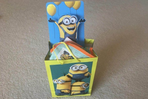 Birthdays Made Brighter - Minions Finished Bag with Card - Customized Gift Wrap Ideas